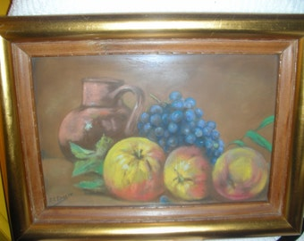 1946 Signed Dated Chalk Pastel Still Life Fruit Picture