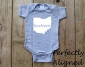 Ohio Home State with BUCKEYE Unisex Infant Bodysuit/Creeper - Baby Boys or Girls