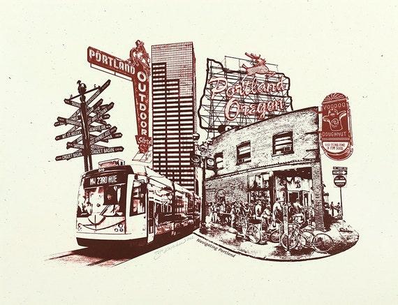 Portland Art // Print // Wall art // Oregon Art // Collage // Cityscape // Navigating Portland - 8.5x11 and 11x14