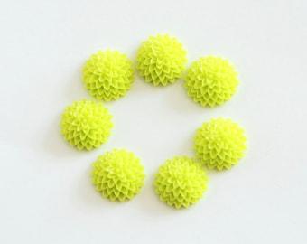 5 pcs Green resin flowers / Resin cameo / Resin cabochon