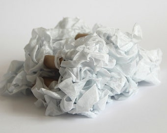 5 m - 5.4 yards - SILVER Shabby Wrinkled Ribbon - Crinkled Seam Binding Ribbon