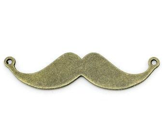 5 pcs - Antique Bronze Mustache Charms Pendants Connectors