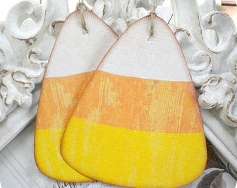 Shabby Candy Corn Tags - Set of 6