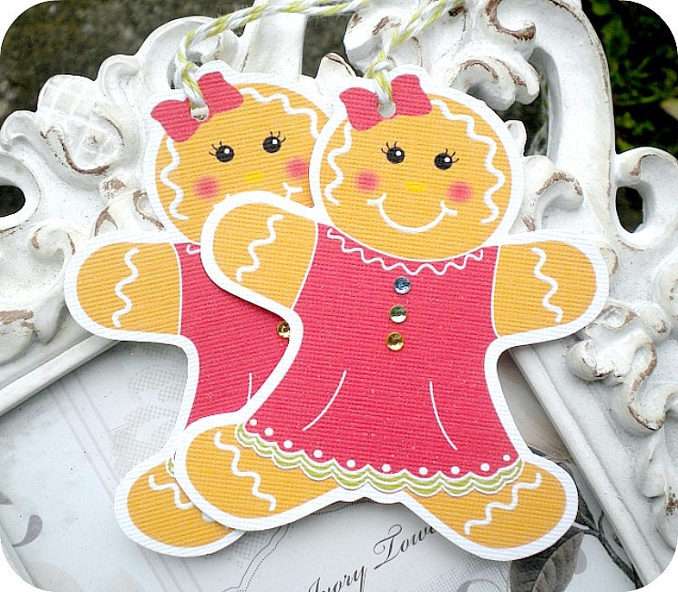 Gingerbread Girl Tags 6 Favor Tags-Holiday Gift Tags-Treat