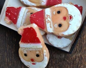 Set Of Five Small Adorable Rare Antique Christmas Santa Soaps