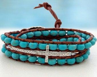 Sophia... Leather wrap bracelet... Beaded Triple Wrap Bracelet. Original OceanBead Style.