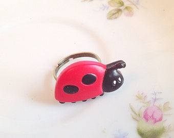 Miniature Ladybug Ring. Wildlife. Nature. Miniature Bug. Unique Ring. Adjustable Ring. Insect. Good Luck. Red and Black. Cute. 10 Dollars
