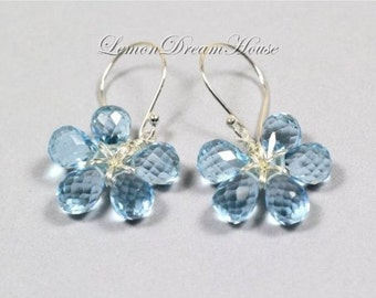 Gemstone Flower Earrings, Swiss Blue Quartz Micro Faceted Tear Drop Briolettes, Sterling Silver Wire, Sterling Silver Earwires. Gift. E211.