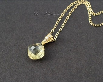 Gemstone Necklace, Champagne Quartz Faceted Cushion Briolette, Gold-plated Bail with Cubic Zirconia, Gold-filled Chain. Gift. N119.