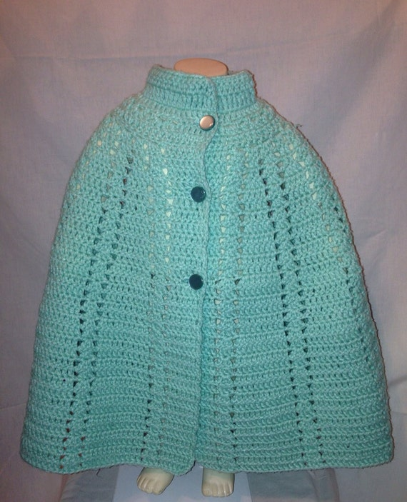 Vintage Handmade Girls Mint Green Knitted Capelet CLEARANCE WAS 12.99