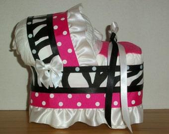 Zebra print polka dot hot pink black girl diaper bassinet baby shower gift table decoration