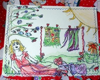 Joyful Lorena, Sewn Art Card, Wall Hanging, Home Decor Card, Clothesline Art, Mixed Media Card, OOAK, Kathleen Leasure, FromGlenToGlen