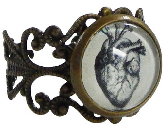 Anatomical Heart Ring - Unique Jewelry, Geek Gifts, Zombie Heart, Anatomy Gifts
