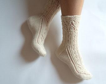 Luxurious hand knit wool socks. White wool lace socks. Gift for her. Valentines gift. Lingerie socks. Bed socks. Boudoir. House socks.