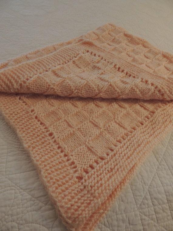 Soft Knitted Peach Baby Blanket Brand New Fine Work Baby Gift