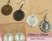 FiNAL Sale 10 Petite OVAL Vintage  Edge Earrings 13x18mm Bezel. ATTACHED Earring Wires.Makes 5 pair. Optional Glass, Seals (10 OR 20)
