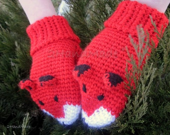 Crochet Gift Mittens Gloves Fox Unisex Animal Funny Chunky Boy Girl Teens Women Men Merino Wool  Red Ginger  Hand Warmer Woodland