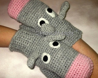 Funny Chunky Crochet Gloves Mittens Animal Puppets Donkey Ass Unisex Boy Girl Teens Women Men Angora Sheep Wool Gray Grey Pink Hand Warmer