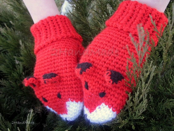 Crochet Gift Mittens Gloves Fox Unisex Animal Funny Chunky Boy Girl Teens Women Men Merino Wool  Red Ginger  Hand Warmer Woodland