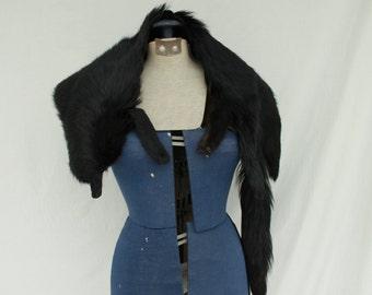Vintage 1940s 1950s Black Fox Fur Pelt Shawl Wrap Stole