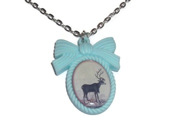 Pastel Cameo Necklace, Stag, Vintage Deer, Cute Animal Jewelry