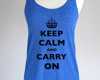 Custom Keep Calm printed on Soft Tri-Blend Racerback Tank - All Sales Final for Custom Items