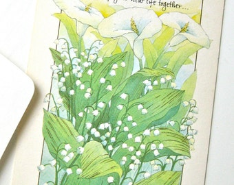 Wedding Card with Lily of the Valley and Calla Lily Flowers Green White Ambassador Cards