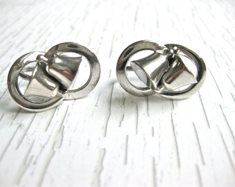 Bell Earrings Faux Silver Screw On Infinity Design Wedding Holiday Jewelry Gift for Her