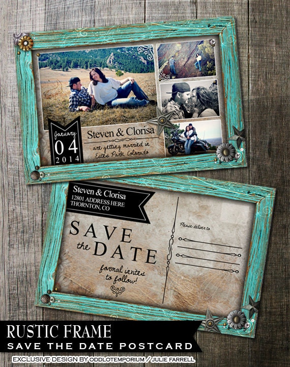Rustic wedding save the date rustic turquoise by for Electronic save the date templates