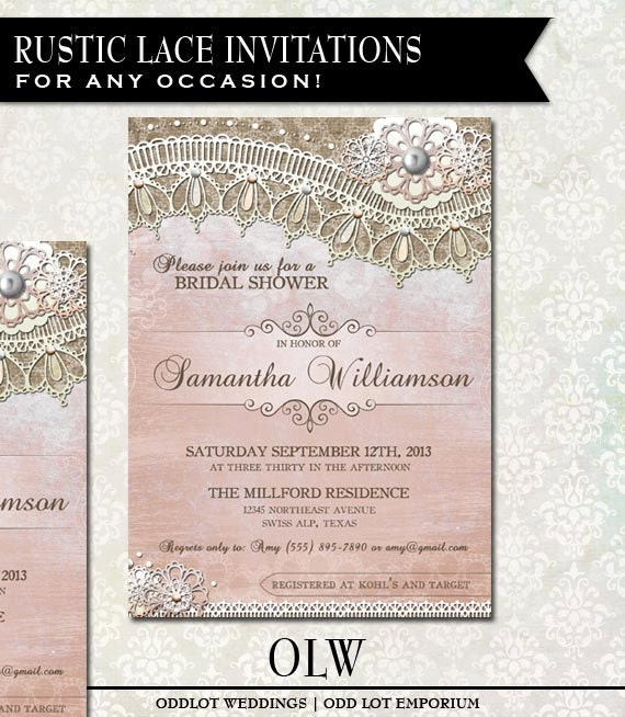 Rustic Lace Bridal Shower Invite Printable W Burlap And