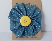 Dusky blue star print brooch