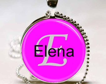 Elena Name Pendant Name Monogram Handcrafted  Necklace Pendant (NPD1415)