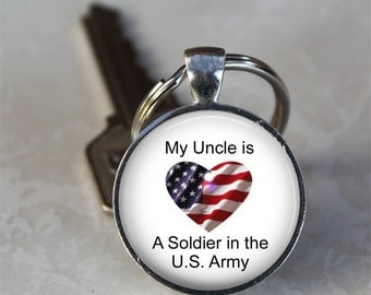 My Uncle is a Soldier in the U.S. Army Patriotic Photo Keychain  (GDKC0282)