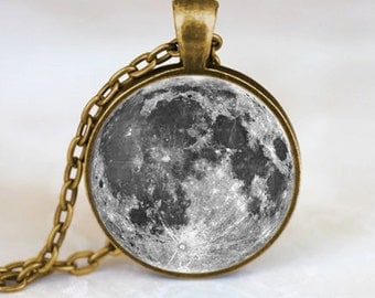 Full Moon  Pendant, Full Moon Necklace, Full Moon Jewelry, Full Moon Charm Bronze (PD0196)