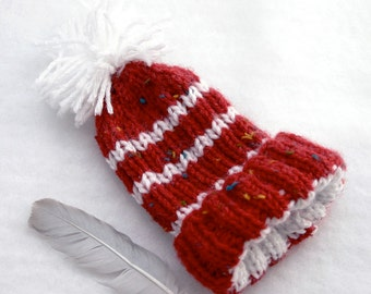 Preemie Baby Hat- Hand Knit- Red and White- XS - Baby Knitted Cap- Charity Donation