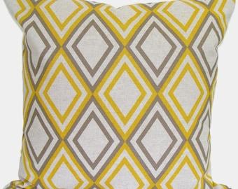 GOLD PILLOW COVER.20x20 inch Decorative Pillow Cover.Home Decor.Housewares.Brown.Diamonds,Geometric. Pillow.Brown Pillow Cover.Gold Yellow