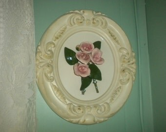 Beautiful Rose Ceramic Wall Hanging, Shabby Chic, French, French Country, Eclectic