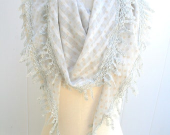 Womens gift women, present for her, grey scarf, Lace Scarf Shawls, Summer 2016,  Lightweight Scarf,  Bridesmaid Gift under 20  - By PIYOYO