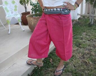 Thai Fisherman Pants, boho Hippie workout Pants, wide leg capri pants, Yoga Pants, gift women clothing - By PiYOYO