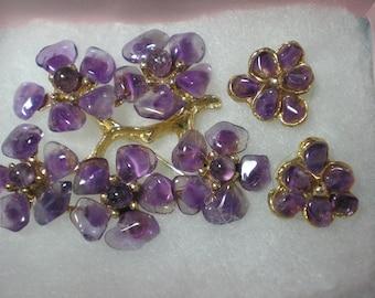 SWOBODA Amethyst Flowers Brooch and Pierced Earrings   Item No: 16570