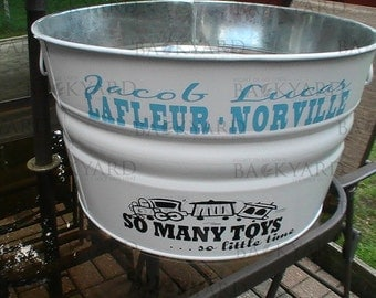 Baby Boy Galvanized Metal Tub
