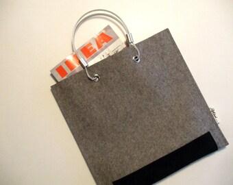 Tote 5mm Granite Merino Wool Felt with Suede REDUCED