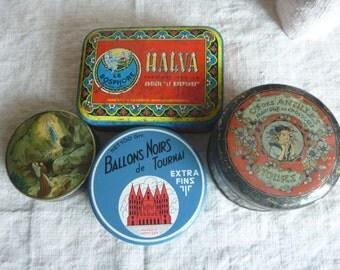 1 Retro Graphic Litho Portrait Tin, Vintage French Metal Box, blue