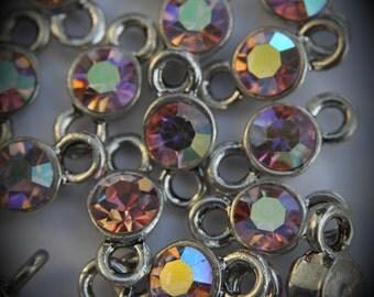 Light Rose AB Genuine Silver Plated Swarovski Crystal Connectors Link T1300