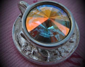 Silver Plated Genuine Swarovski Crsytal Tea Cup Rivoli In Cystal AB Pendant
