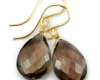 AAA Smoky Quartz Earrings Faceted Pear Briolette Smokey Sterling Silver or 14k Gold Filled