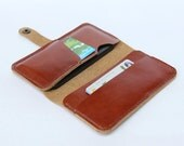 Leather iPhone wallet case – Tan Brown Color / 4 slots / Handmade (For iPhone5/5s)