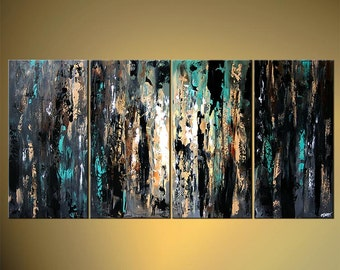 """60"""" x 30"""" Contemporary Black Teal Abstract Painting Textured Acrylic Gray Painting by Osnat - MADE-TO-ORDER"""