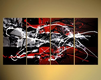 "Original Contemporary Abstract Acrylic Painting 60"" x 30""  Osnat Red, Gray, Black, White Acrylic Painting Partially Textured - MADE-TO-ORDER"