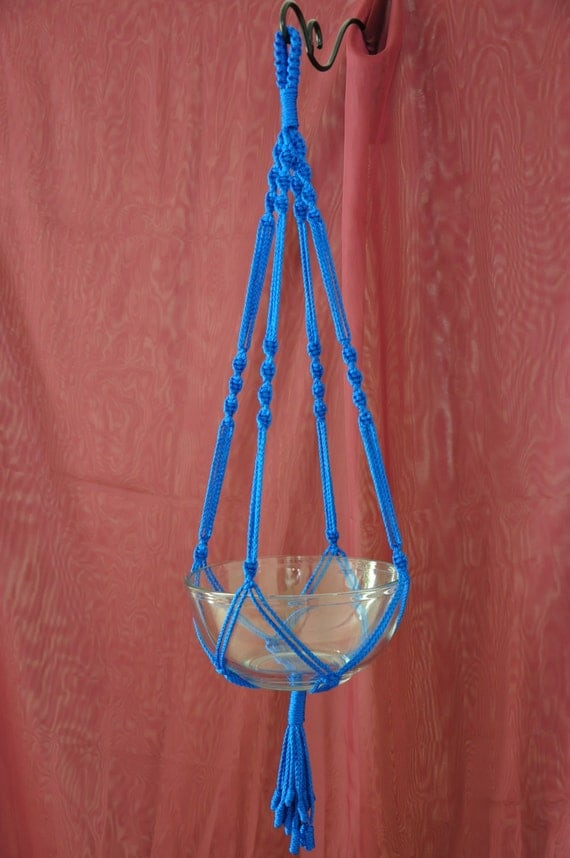 Hand Crafted Macrame Plant Hanger- Royal Blue 35""